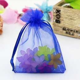 Wholesale Diy Organza Bags - 100 Pc Royal Blue Organza Jewelry Gift Pouch Bags 7x9cm (2.7X 3.5 inch)Drawstring Bag Organza Gift Candy Bags DIY Gift Bags