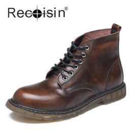 Wholesale Vintage Men Cowboy Boots - Wholesale- RECOISIN Size 46 47 Men Autumn Vintage Boots Genuine Leather Motorcycle Boots Russia Men Ankle Boots Cowboy Boats Zapatos 512