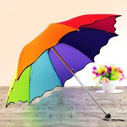 Wholesale Rainbow Umbrellas - Colorful Rainbow color Sunny and Rainy Telescopic Umbrella 8 Ribs Three-Folding Pongee falbala Baked Enamel Steel Rain Gear Tool Sundries