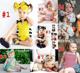 Wholesale Halloween Lace Rompers - Baby INS flower fox Rompers 7 Style Girl honeybee watermelon Cotton Lace print romper Big Bows headbands 2pcs sets baby clothes