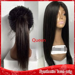 Wholesale glueless full lace wig synthetic - Fashion Full Lace Wigs Black Silky Straight Long Wigs for Black Women Heat Resistant Glueless Synthetic Lace Front Wigs with Baby Hair