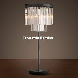 Wholesale Crystal Table Lamp Vintage - Family hotel bedside desk lamp retro LOFT Tiffany glass crystal table light Modern Vintage Crystal Table Lamp Desk Light