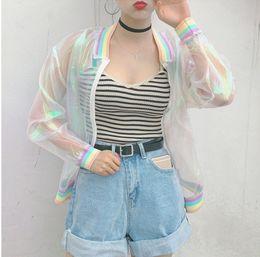 Giacca donna Harajuku Summer Rainbow Laser Symphony Hologram Women BasicCoat Giacca trasparente Bomber Clear Iridescent Sunproof-S1 da