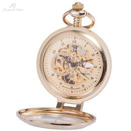 Wholesale Ks Hands - Wholesale-KS Luxury Retro Skeleton Gold Analog Hand Wind Clock Necklace Chain Fob Pendant Steampunk Men Mechanical Pocket Watch   KSP062