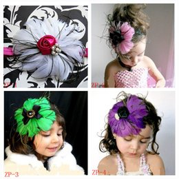 Wholesale Headband Feather Big Flower - 2017 NEW ARRIVAL 4 colors Baby Amour New Design Feather Headbands Big Flower Fashion Hair Band Girl Hair Accessories XMAS GIFT 10pcs