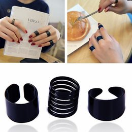Wholesale Open Combination - 3Pcs Set Fashion Black Opening Ring Mid Finger Knuckle Rings Set Wholesale spring combination Rings Geometry Style Jewelry for women&girl