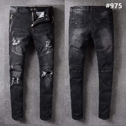 Wholesale Rock Jeans 32 - Mens Robins full length jeans straight patchwork denim pants scratched zipper fly spliced slim Robin jeans for men rock revival jeans 32-42