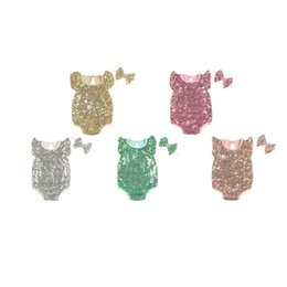 Wholesale Toddles Wholesale Clothes - Toddle Girl Cotton Sequin Romper Baby Jumsuit Infant Newborn Short Sleeve Children Kids Clothing With Headband