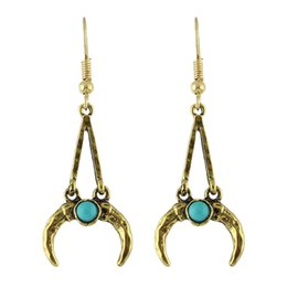 Wholesale Horn Earring Silver - Earrings Jewelry Antique Gold-Color Silver Color with Blue Stone Geometric Horn Drop Statement Earrings Brincos for Women
