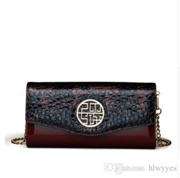 Wholesale Womens Handbag Button - Pmsix 2017 New Crocodile Pattern Vintage Patent Leather Handbags Wine Red Brand Chain Womens Evening Clutch Bags P420036