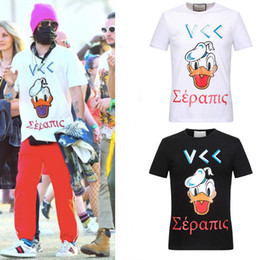 Wholesale Big White Head - Big Size 3XL Men's Tee Applique Duck Head Printing Letters Top Cotton Short Sleeves Skinny Fit T-Shirts O Collar