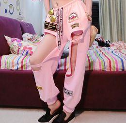 Wholesale Hip Hop Dancing Pants Women - 2016 women black pink hiphop Hollow pants girl female singer DS DJ jazz dance HIP-HOP street stage performance trouser wear