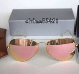 Wholesale Flash Sunglasses - 1Pcs Mens Womens Designer Sunglasses Pilot Sun Glasses Gold Frame Colorful Flash Pink Mirror Glass Lenses 58MM 62MM With Cases And Box