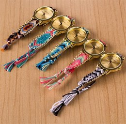 Wholesale Round Friendship Bracelets - Folk Style Handmade Braided Friendship Bracelet Watch Geneva Hand-Woven Watch Ladies Women Weave Dress New Fashion Quarzt Watch