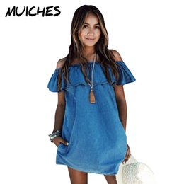 Wholesale Ladies Fashion Jeans Designer - 2016 Women dress New Fashion Designer Loose Slash neck Jeans Dresses Summer Casual Sleeveless ladies elegant Denim Dresses