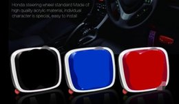 Wholesale Emblem Badge For Wheel - Car Steering Wheel Emblem Badges Sticker Symbols Cover Black Blue Red For H All Cars
