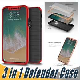 Wholesale Iphone Full Phone - 360 Full Protection 3 in 1 Case Brush Hard PC Cell Phone Luxury Back Cover For iPhone X 8 7 6 6S Plus 5 5S Samsung Note 8 S8 S7 Edge Plus J7