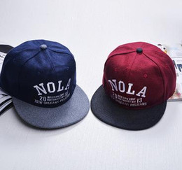 Wholesale Material Hips - New Material Fashion Hat Snapback For Women Men NOLA Latters Embroider Hip Hop Baseball Caps Mix Colors