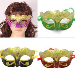 Wholesale Wholesale Glitter Masquerade Masks - Party Masks With Gold Glitter Masks Venetian Halloween masks Party Mask With Gold Glitter Mask Venetian Unisex Sparkle Masquerade