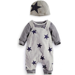 Wholesale Zebra Baby Hat - Baby Boys Baby Girls clothing set Newborn baby black grey striated T-shirt+ bib pants + hat stars pattern costumes suits