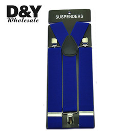 "Wholesale Royal Blue Suspenders - Wholesale- Free shipping-Men's Unisex Clip-on Braces Elastic Suspender 3.5cm Wide ""Royal blue"" Suspenders gallus Wholesale & Retail"