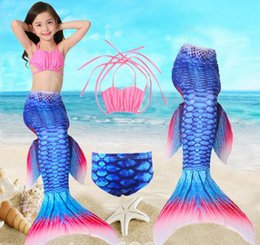 Wholesale Mermaid Swimsuits For Kids - Mermaids Fin Tail Bikini Set Swimming Costumes For Kids Girls Mermaid Tail Costume Bikini Swimwear Swimsuit 3pcs   1set KKA1964