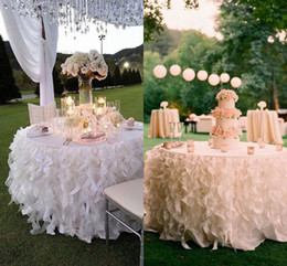 Wholesale Silver Plated Wedding Cake Stand - White Ivory Ruffled Table Skirt Curly Willow Table Skirts Romantic Cake Dessert Organza Table Skirts For Weddings