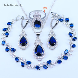 Wholesale American Indian Jewelry Bracelet - L&B Australia Crystal Water Drop silver 925 Jewelry Sets For Women Bracelet Earrings Necklace Pendant Rings