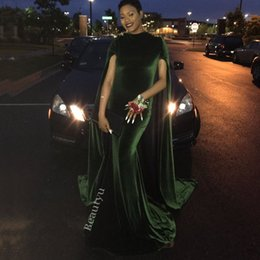 Wholesale Modern Cloak - Elegant Velvet Mermaid Evening Gowns With Cloak 2017 African Arabic Dubai High Neck Long Prom Dresses Party Formal Robe For Black Gilrs