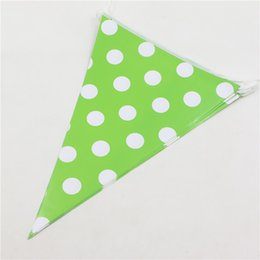 Wholesale Flags Banner Green - Wholesale- 1set\lot Decoration Paper Pennats Green Polka Dots Happy Baby Shower Kids Favors Bunting Flags Birthday Party Banners Supplies