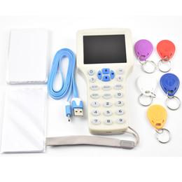 Wholesale Ic Card Writer - Updated version English 10 frequency RFID Copier ID IC Reader Writer+5pcs 13.56mhz UID Writable Keys+5pcs 125khz T5577 Keyfobs
