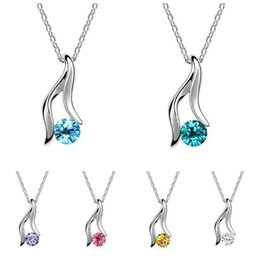 Wholesale Slimming Plant - Free shipping Austrian crystal slim necklace female alloy ornaments WFN092 (with chain) mix order 20 pieces a lot