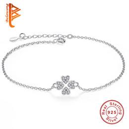 Wholesale Gold Leaf Rose - BELAWANG Fashion 925 Sterling Silver Sliver&Rose Gold Jewelry Crystal Four Leaf Clover Heart Charm Bracelet Adjustable Link For Women Gift