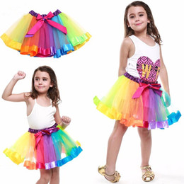 Wholesale Embroidered Tutu - Colorful Tutu Skirt Kids Clothes Tutu Dance Wear Skirts Ballet Pettiskirts Dance Rainbow Skirt Ruffled Birthday Party Skirt LC460