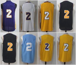 Wholesale Drop Ship Sports Jerseys - Ball Jersey 2 New 2017 2018 Men All Stitched For Sport Fans Lonzo Ball Jerseys Team Black White Yellow Purple Drop Shipping with sponsor