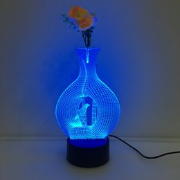 Wholesale Led Flower Vase Lights - 3D Vase Bird Illusion Lamp Night Light with Flower DC 5V USB Charging AA Battery Wholesale Dropshipping Free Shipping Retail Box