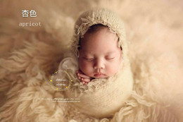 Wholesale Photo Prop Wrap - Newborn mohair wrap with hat photo prop Baby handmade scarf bonnet photography prop