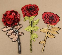 Wholesale Grace Stickers - Iron On Patches DIY sequined Patch sticker For Clothing clothes Fabric Badges Sewing shiny glitter rose red golden grace etc