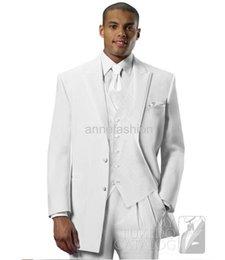 Wholesale Men S Euro Jackets - Free shipping Custom made white EURO tuxedos wide peak lapel two button suit (Jacket +pants)