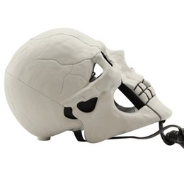 Wholesale Skull Shape Telephone - Wholesale-Free shipping 1Piece Hot Selling (White)Fearful Skull Shape Novelty Telephone Skull Flashing Phone Skull Phone