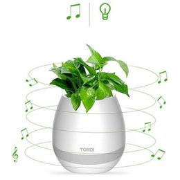 Wholesale Plant Supports - For Home Office LED Light Bluetooth Flowerpot Support TF Card Green Plant Music Player LED Night Subwoofer in Stock Free DHL HP01