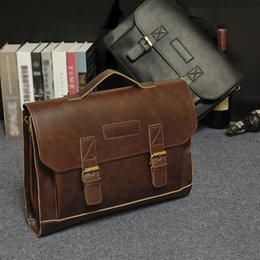 Wholesale Vintage Crocodile Men - Wholesale- Designer Superb Leather men Bag Casual Handbags vintage Men Crossbody Bags Hasp Business Men's Travel Bags Laptop Briefcase Bag