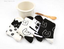 Wholesale Black Cat Slippers - Wholesale-New Japanese Shibuya Harajuku Cute Black White Cat Combed Cotton Socks Women Sock Slippers Ankle 35-40