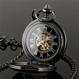 Wholesale New Mechanical Skeleton Pendant Watch - Wholesale-2016 High Quality New Steampunk Face Retro Pendant Pocket Watch For a Gift Skeleton Mechanical Black Open AN690