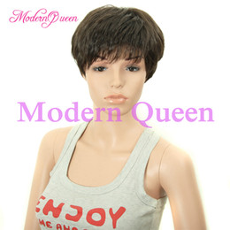 Wholesale Mans Synthetic Wigs - Cheap Fashion Heat Resistant Synthetic Hair Wigs For Men And Women #4 Light Brown Short Hair Wig Narural And Comfortable Easy To Wear