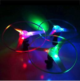 Wholesale Ufo Baby Toys - LED Flying Toy Kids Flying Saucer Pull String Baby Children Kids Flying Saucer UFO Spin LED Light Children Best Gift Toy Game