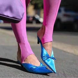 Wholesale Thick Satin Wedding Dresses - LTTL Brand Shoes 2017 New Hot Fashion Ladies Mullers Thick Kitten Heel Point Toes Slingback Satin Slippers Runway Shoes Pumps Party