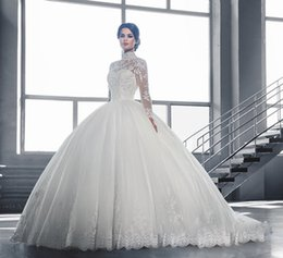 Wholesale Popular Tulle Wedding Dress - Popular Dubai Long Sleeve Lace Wedding Dresses Ball Gown High Collar Sheer Neck Tulle Bridal Gowns With Appliques Sexy Beaded Bridal Gowns