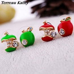 Wholesale Red Apple Earrings - Terreau Kathy 2016 New Wholesale Fashion Rhinestone Red And Green Color Apple Womens Cheap Earrings For Women