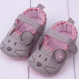 Wholesale Wholesale Shoes For Little Girls - Wholesale- Very Cute soft Little Mouse Princess Baby Shoes For Girl and Boy Baby Shoes 3 size to Choose